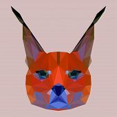 Bright colored Polygonal Geometric Triangle Abstract Lynx Background