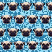 Abstract Geometric Polygonal Pug Seamless Pattern Background