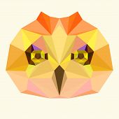 Bright Abstract Geometric Polygonal Owl Background