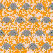 Polygonal Geometric Abstract Rabbit Seamless Pattern Vector Background