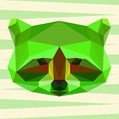 Bright green colored Polygonal Geometric Triangle Abstract Raccoon