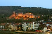 Heidelberg Castle Illuminated At Night