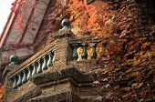 picture of mansion  - The outside balcony covered in ivy on a victorian style mansion located in Shanghai film park - JPG