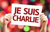 I am Charlie (In French) card with colorful background with defocused lights