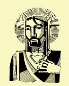 pic of sacred heart jesus  - Hand drawn vector illustration or drawing of Jesus Christ and his Sacred Heart - JPG