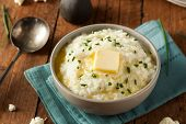 foto of mashed potatoes  - Homemade Organic Mashed Cauliflower with Butter and Chives - JPG