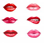Постер, плакат: Lips set isolated on white background design element Red lips Lips background