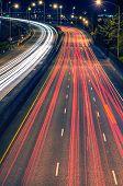 picture of portland oregon  - Highway Night Traffic in Portland Oregon - JPG