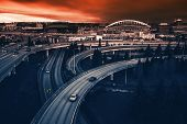 picture of intersection  - Seattle Highways Intersection in Reddish Blue Color Grading - JPG