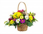 picture of centerpiece  - Flower bouquet from multi colored chrysanthemum and other flowers arrangement centerpiece in wicker basket isolated on white background - JPG
