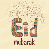 image of eid mubarak  - Colorful creative text of Eid Mubarak on stars decorated background for muslim community festival celebration - JPG