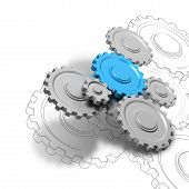 picture of cogwheel  - Gears or cogwheel working together ober white background - JPG