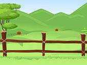 stock photo of wooden fence  - Illustration of a Vast Farmland Protected by a Wooden Fence - JPG