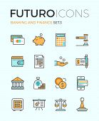 foto of financial management  - Line icons with flat design elements of money savings and finance tools banking services financial management items business accounting - JPG