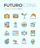 stock photo of recreation  - Line icons with flat design elements of air travel to resort vacation tour planning recreational rest holiday trip for leisure activity - JPG