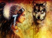 picture of headdress  - young indian woman wearing with wolf and feather headdress painting collage - JPG