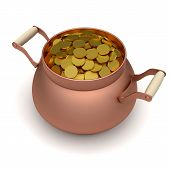 picture of pot gold  - Gold soins in the bronze pot - JPG