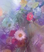 stock photo of vase flowers  - Abstract flower painting - JPG