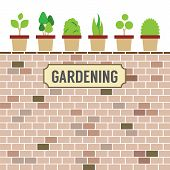 pic of plant pot  - Pot Plants On Brick Wall Gardening Concept Vector Illustration - JPG