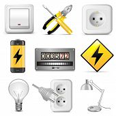 picture of electric socket  - Electrical Icons including socket - JPG