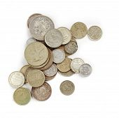 picture of copper coins  - Old Coins isolated on the white background - JPG