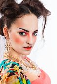 pic of geisha  - Stylized portrait of a Japanese geisha with bright make up - JPG
