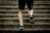 Постер, плакат: Young Athletic Legs With Sharp Scarf Muscles Of Runner Sport Man Climbing Up City Stairs Jogging And