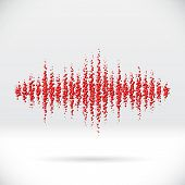 pic of waveform  - Sound waveform made of chaotic scattered red balls - JPG