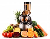 picture of juicer  - Slow juicer with organic fruits and vegetables isolated on white - JPG