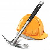 stock photo of collier  - Pickaxe with Helmet isolated on white background - JPG