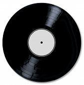 image of lp  - A typical LP vinyl record with a blank label over a white background - JPG