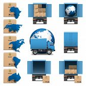stock photo of lift truck  - Shipment Trucks Icons set 3 - JPG