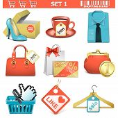 stock photo of gift basket  - Shopping icons set 1 including box of shoes - JPG