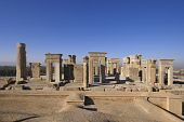 stock photo of xerxes  - Apadana palace built by Darius the Great on western side of Persepolis complex - JPG