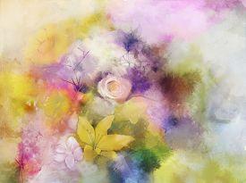 image of violet flower  - Vintage flowers painting - JPG