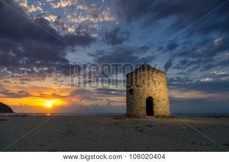 Old windmill ai Gyra Agios Ioannis beach, Lefkada Greece, Old windmill ai Gyra Agios Ioannis beach, Lefkada Greece