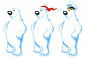 stock photo of polar bears  - Three Happy Polar Bears with Santa - JPG