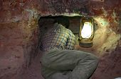 pic of bottomless  - mine worker at underground museum of coober pedy - JPG