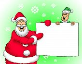 Santa and Elf with sign