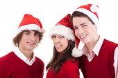 Happy Christmas Teens, Isolated On White Background, Studio Shot.