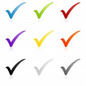 picture of check mark  - Illustration of a colorful check mark icon set - JPG