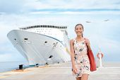 Постер, плакат: Cruise ship travel going shopping in port on travel cruise vacation at sea Happy mixed race Asian C