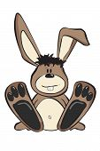 stock photo of thumper  - Vector illustration of a cartoon rabbit sitting down facing forward - JPG