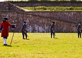 foto of acadian  - louisbourg soldiers preparing to fight a battle - JPG