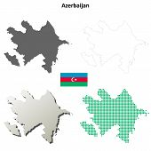 Постер, плакат: Azerbaijan outline map set