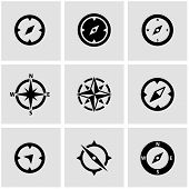 Vector Black Compass Icon Set poster