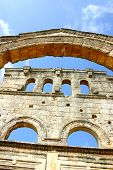 stock photo of euphrat  - ruins of ancient simeonis abbey in syria - JPG