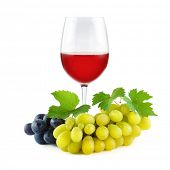 Bunch grapes with green fresh leaves and glass red wine isolated on white background. poster