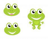 Cute Green Cartoon Frog - Icons Isolated On White.