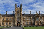 stock photo of quadrangles  - View on the centre Tower and the main entrance of the University of Sydney Quadrangle - JPG